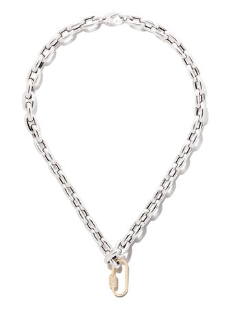 """AS29 18kt Yellow Gold Diamond Oval Carabiner (medium), 18kt White Gold 18"""" Bold Links Chain Necklace - Farfetch"""