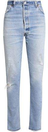 Re/Done By Re/done By Distressed High-rise Slim-leg Jeans