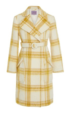 ALEXACHUNG- Plaid Belted Wool-Blend Coat