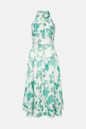 Ivy Leaf Print Sleeveless Midi Shirt Dress | Karen Millen