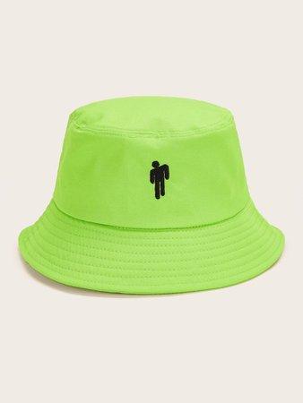 Figure Embroidery Neon Green Bucket Hat | ROMWE
