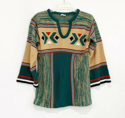 Vintage 70s V-Neck bell sleeve boho bohemian hippie knit sweater | eBay
