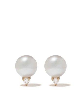 Mizuki 14Kt Gold Sea Of Beauty Large Pearl Diamond Stud Earrings SBE244 | Farfetch