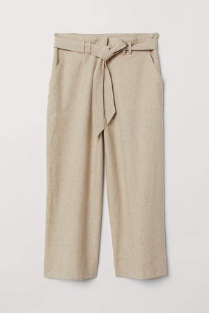 H&M+ Paper-bag Pants - Brown