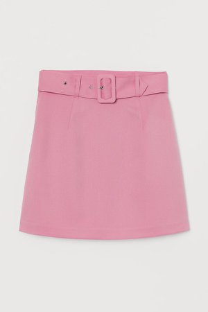 Belted A-line Skirt - Pink