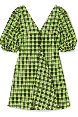 GANNI | Checked cotton-blend seersucker mini dress | NET-A-PORTER.COM