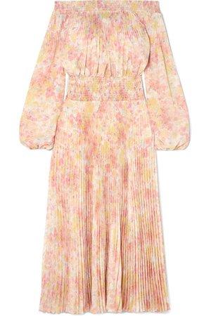 Prada | Off-the-shoulder shirred floral-print plissé-satin maxi dress | NET-A-PORTER.COM