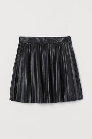 Pleated pleater leather Skirt - Black - Ladies   H&M US