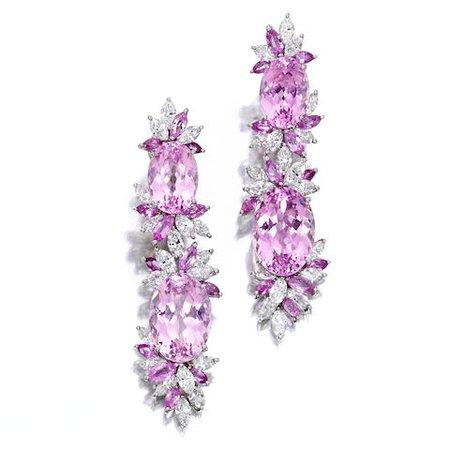 Bonhams : A pair of kunzite, pink sapphire and diamond ear pendants