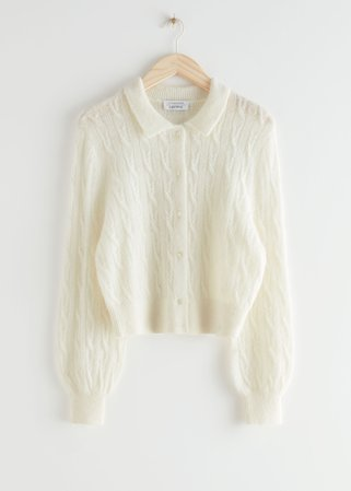 Alpaca Blend Cable Knit Cardigan - White - Cardigans - & Other Stories