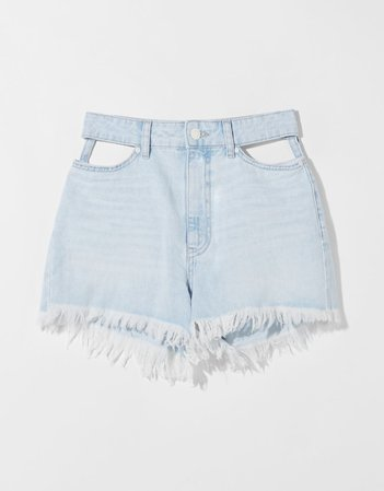 Denim shorts with cut-out detail - Denim - Woman | Bershka
