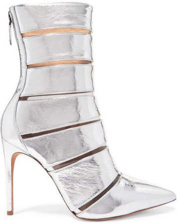 Sommer Metallic Leather And Perspex Ankle Boots - Silver