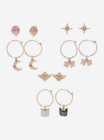 Sailor Moon Charms Hoop & Stud Earring Set
