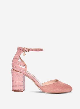 Wide Fit Pink 'Debs' Court Shoes   Dorothy Perkins