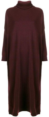 roll-neck sweater midi dress