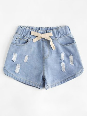 Drawstring Waist Ripped Denim Shorts