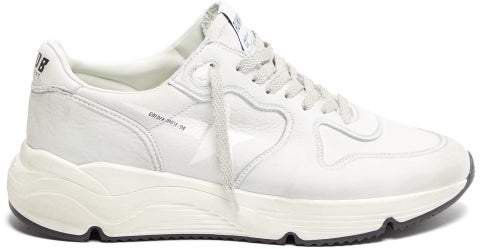 Running Sole Low Top Leather Trainers - Womens - White