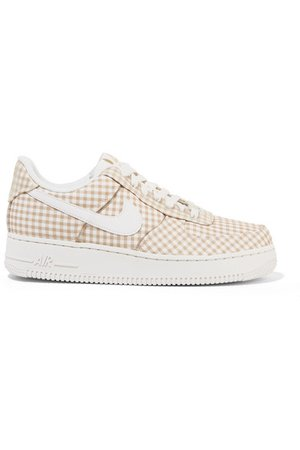 Nike | Air Force 1 leather and PVC-trimmed gingham canvas sneakers | NET-A-PORTER.COM