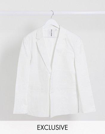 COLLUSION oversized blazer in white | ASOS