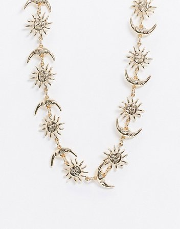 ASOS DESIGN choker necklace with moon and star design in gold tone | ASOS