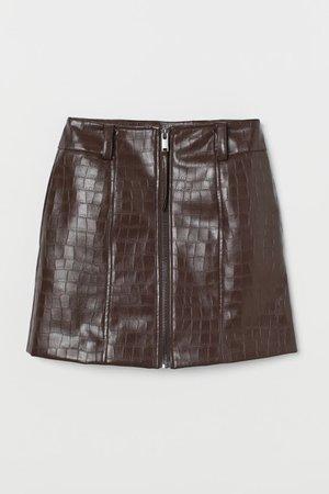 Short skirt - Dark brown/Crocodile-patterned - Ladies | H&M GB