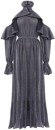 Hasanova Silver Metallic Sparkle Ruffle Maxi Dress