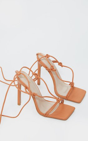 Orange Extreme Square Front Knot Detail High Heels | PrettyLittleThing USA
