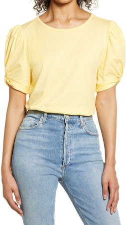 Puff Sleeve Cotton T-Shirt
