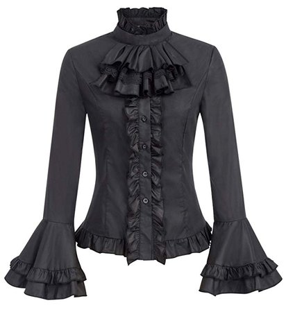 SCARLET DARKNESS Women's Victorian Lolita Ruffled Blouse with Removable Jabot at Amazon Women's Clothing store