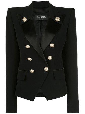 Black Balmain Structured Double Breasted Blazer | Farfetch.com