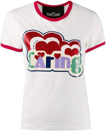 logo slogan print T-shirt