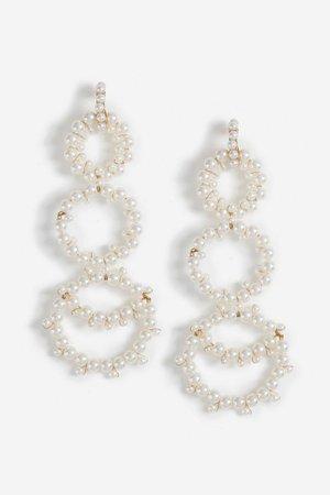 **Long Drop Pearl Earrings | Topshop