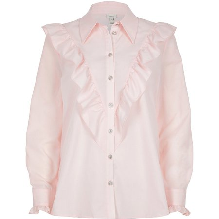 Pink frill bib long sleeve shirt   River Island