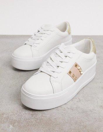Steve Madden Pingo flatform sneakers in white | ASOS