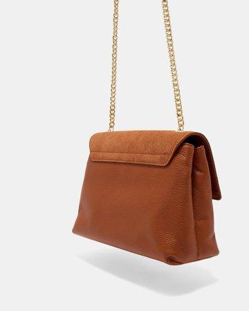 Medium suede padlock cross body bag - Tan | Bags | Ted Baker