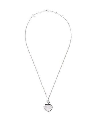 Chopard 18kt white gold Happy Hearts diamond pendant necklace