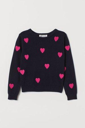 Fine-knit cotton jumper - Dark blue/Hearts - Kids | H&M GB