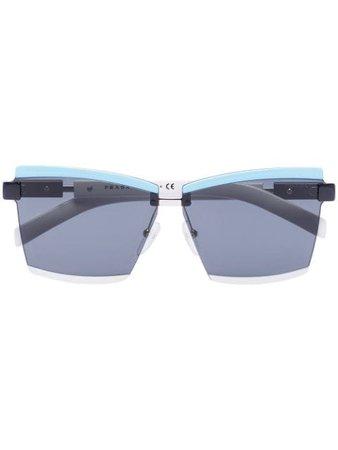 Prada Eyewear Duple rectangular-frame sunglasses blue & black 0PR61XS - Farfetch