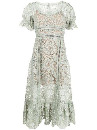 Self-Portrait guipure-lace midi dress