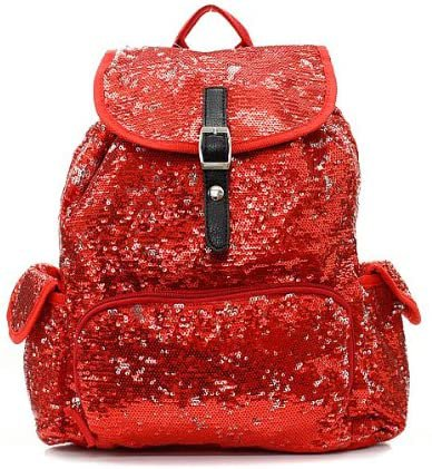 Amazon.com   Sequin Fashion Backpack Red   Casual Daypacks