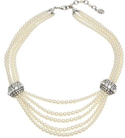 Elegance Glass Pearl & Crystal Station Necklace