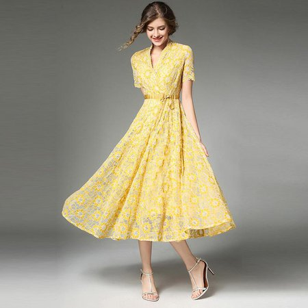 lace yellow dress with sleeves - Google Search