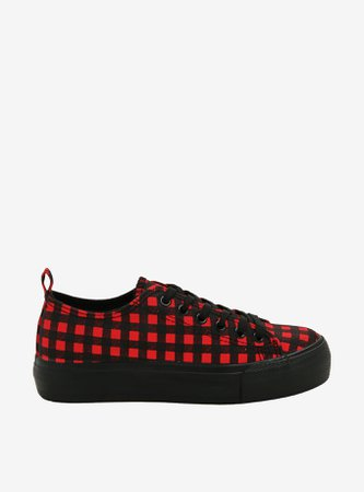 Red & Black Plaid Canvas Sneakers
