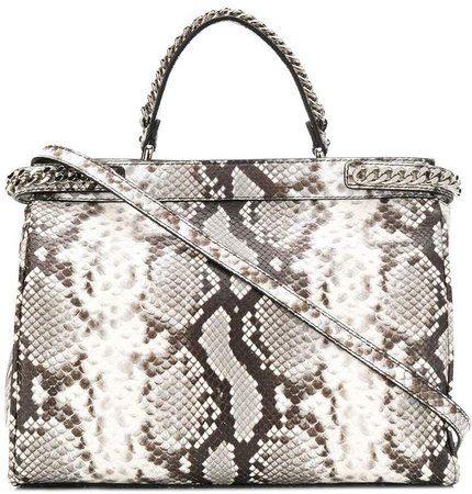 snake-effect chain-trim tote