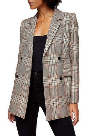 Topshop Glen Plaid Double Breasted Blazer | Nordstrom