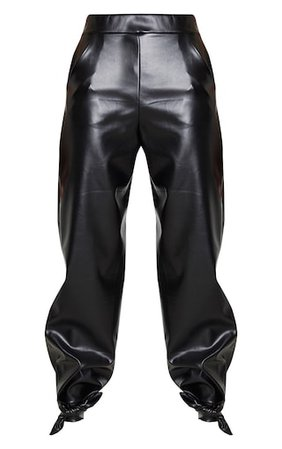 Black Faux Leather Tie Ankle Trouser   PrettyLittleThing