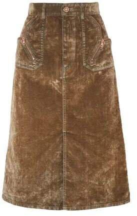 Zip-detailed Cotton-blend Velvet Skirt
