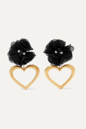 Black Margot gold-tone, crystal and silk earrings | Mallarino | NET-A-PORTER
