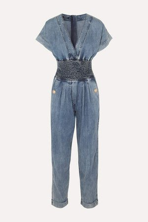 Smocked Denim Jumpsuit - Blue