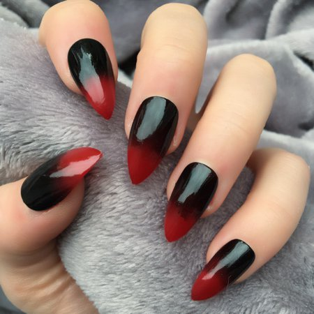 Red & Black Ombre Nails